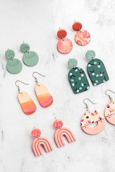 Diy Clay Earrings, Polymer Clay Jewelry, Easy Polymer Clay, Fimo Clay, Clay Beads, Diy Crafts Earrings, Diy Earrings Easy, Polymer Clay Ornaments, Diy Crafts Jewelry