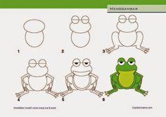 kerajinan anak SD/paud, cara & langkah menggambar katak