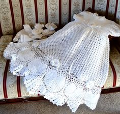 Crochet Christening gown bonnet and booties The by EmporiumHouse, $185.00