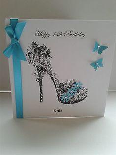 Handmade Mum Sister Daughter 21st 18th Birthday Shoe Card Personalised