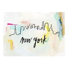 """The New York skyline against abstract brush strokes. Original illustration with hand lettering by Patricia Shen. - 5"""" x 7"""" - Printed in full color on heavyweight cover paper"""