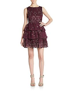 ALICE + OLIVIA Rowley Embellished Tiered Dress. #alice+olivia #cloth #dress