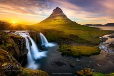 Kirkjufell by Esvertit  landscape sunset nature island light waterfall mountain midnight iceland islandia midnightsun kirkju