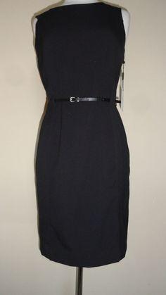 CALVIN KLEIN BLACK BELTED CAREER DRESS- SZ- 6 MSRP: $109 #CalvinKlein #Sheath #WeartoWork