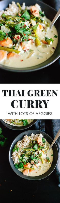 Simple, vegetarian Thai green curry recipe featuring asparagus, carrots and spinach! cookieandkate.com