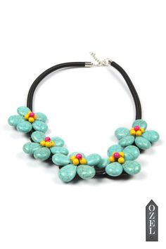 Green Stone Floral Necklace by Ozel Studio