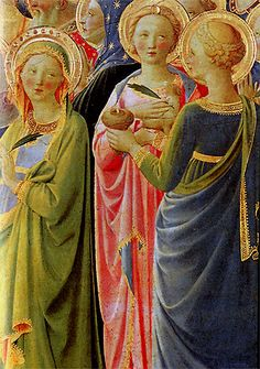 Le couronnement de la Vierge - Détail - Saintes aux vêtements acidulés et à la carnation angélique Italian Renaissance Art, Medieval Art, Catholic Art, Religious Art, Renaissance Portraits, Fra Angelico, Italian Paintings, I Believe In Angels, Sacred Art