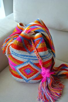 Multicolor Wayuu mochila bag, so love this...especially the pink part