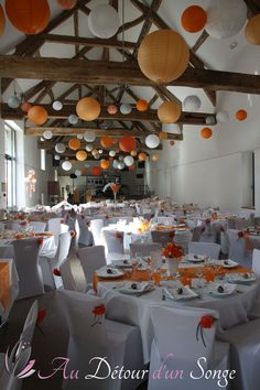 Décoration mariage thème Poissons rouges Orange, gris & blanc Wedding decoration theme Red Fish Orange, grey & white