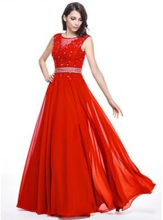 A-Line/Princess Scoop Neck Floor-Length Chiffon Evening Dress With Beading Appliques Lace Sequins (017056133) - JJsHouse