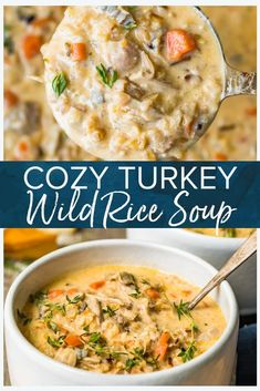 Chicken Wild Rice Soup If you are looking for a tasty way to use up your Thanksgiving leftovers, then I might have just the thing for you! This turkey wild rice soup is so delicious and easy to make, hearty, comforting and packed full of flavor. Creamy Turkey Soup, Turkey Wild Rice Soup, Turkey Noodle Soup, Turkey Pasta, Chicken Wild Rice Soup, Recipe For Turkey Soup, Turkey Stew, Turkey Food, Turkey Meals