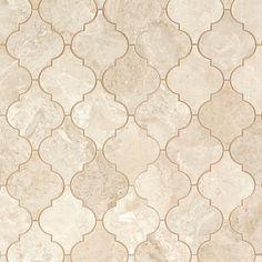 Crema Royal Arabesque Marble Mosaic - 12 x 11 - 100255058 Bathroom Flooring, Kitchen Flooring, Diy Flooring, Flooring Options, Bathroom Fixtures, Arabesque Tile Backsplash, Decorative Tile Backsplash, Splashback Tiles, Mosaics
