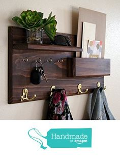 Coat Rack Mail Storage Key Hooks Entryway Organizer Custom Solid Wood Handmade from Midnight Woodworks Entryway Coat Rack, Coat Rack Shelf, Coat Hooks, Entryway Hooks, Entryway Storage, Garage Storage, Mail Storage, Storage Hooks, Storage Shelves