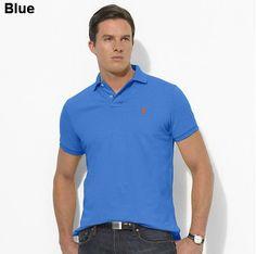 Ralph Lauren Men Custom-Fit Mesh Polo Short Sleeve Blue