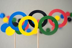 Olympic Rings Cupcake Toppers and Garland