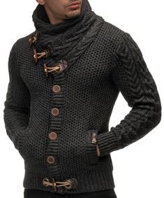 Amazon.com: Leif Nelson Men's Knitted Turtleneck Cardigan - X-Large - Anthracite: Clothing