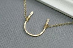Gold Horseshoe Necklace - Lucky Horseshoe Charm - 14k Goldfilled Hammered - Good Luck Charm on Etsy, $38.00