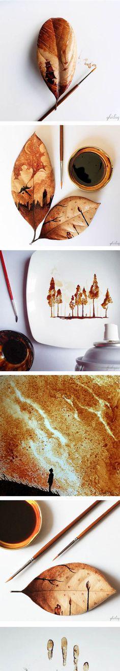 Pinturas Folha de café impressionantes - / Impressive Coffee Leaf Paintings - /
