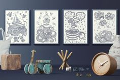Tales of the sea collection - 4 coloring posters / black and white illustrations Neutral Color Scheme, Color Schemes, All Poster, Posters, Black And White Illustration, Decor Styles, How To Draw Hands, Coloring, Gallery Wall