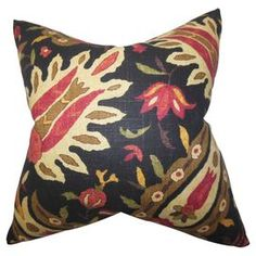 "Cotton pillow with a multicolor floral motif. Made in the USA.  Product: PillowConstruction Material: Cotton cover and high fiber polyester fillColor: Midnight and multiFeatures:  Insert includedHidden zipper closureMade in the USA Dimensions: 18"" x 18""Cleaning and Care: Spot clean"