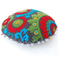 Indian Suzani Embroidered Handmade Cushion Cover Round Home Decorative Pillow Boho Bohemian Designer Pillow With Multi Colour Pom Pom Lace by ArtofPinkcity on Etsy