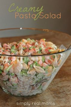 "Creamy Pasta Salad: w broccoli, shells, peas, carrots, cheese & ranch dressing. ""Hands down the best side dish ever. Makes the perfect MAIN dish on a hot day Pasta Recipes, Salad Recipes, Dinner Recipes, Cooking Recipes, Healthy Recipes, Shrimp Recipes, Delicious Recipes, Pasta Dishes, Food Dishes"