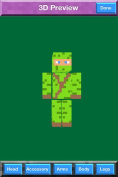 This Is My 3rd Minecraft Skin. He Is A Green Ninga With A Brown Wip On His Back And Chest.