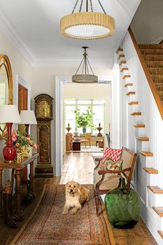 "Tour the 2015 Idea House ""My mother always had a red Oriental rug [like this one] in our front hall to take Virginia's d Southern Living, Country Living, Foyer Decorating, Decorating Your Home, Decorating Ideas, Decor Ideas, Halls, Home Still, Country Style Homes"
