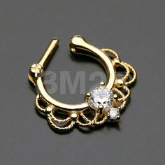 Golden Turan Sparkle Septum Clicker Ring by BM25Jewelry on Etsy
