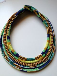 African print necklace Diy African Jewelry, African Necklace, Tribal Necklace, Tribal Jewelry, Beaded Necklace, Rope Necklace, Fabric Necklace, Fabric Jewelry, Diy Jewelry