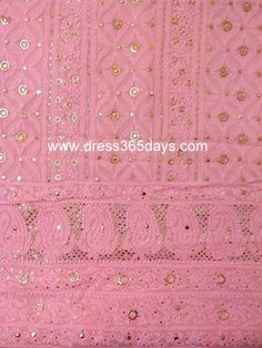 Buy Pure Georgette Pink Shirt and Dupatta with Mukaish/ Badla Work(Two Piece) $150