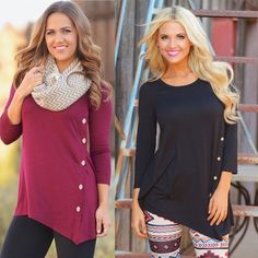 Buttoned Blouse Gorgeous ruby red or black blouse with buttons on the side and an asymmetric bottom. Cotton blend material Tops Blouses