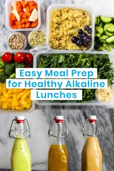 Easy Meal Prep for Healthy Alkaline Lunches. Easy Meal Prep, Healthy Meal Prep, Healthy Snacks, Healthy Eating, Clean Eating, Alkaline Diet Recipes, Alkaline Foods, Alkaline Diet Plan, Dr Sebi Recipes