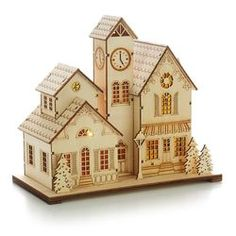 Laser-Cut Wood Village Scene,