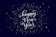 Happy New Year. Lettering text for Happy New Year or Merry Christmas. Greeting card, poster, banner with text happy new year. Holiday background with color Happy New Year Stickers, Happy New Year Signs, Happy Year, Happy Anniversary Lettering, Happy New Year Background, Cute Letters, New Years Poster, Christmas Greetings, Merry Christmas