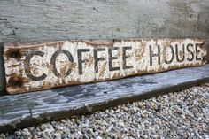 Rustic Wood Sign Coffee House Distressed by TheUnpolishedBarn