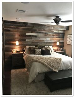 Smart Ways to Rustic Home Decor Ideas ~ 2019 If you would like to be authentic to your house's traditional design, wood windows with grilles are the thing to do. If you also need to redecorate yo… Smart Ways to Rustic Home Decor Ideas ~ 2019 Small Master Bedroom, Master Bedroom Makeover, Master Bedroom Wood Wall, Bedroom Ideas Master On A Budget, Pallet Wall Bedroom, Bedroom Ideas For Couples Rustic, Master Bath, Room For Couples, Ideas For Bedroom Walls