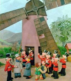 Windy Miller and the soldiers of Pippin Fort from Camberwick Green
