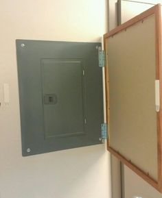 Cover ugly breaker boxes. Items needed: Command strip Velcro, 3 hinges, a framed photo or a whiteboard.