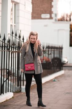 Everyday Style | mediamarmalade outfit inspo | Tweed Blazer, Whistles Slogan Tee, And Other Stories Boots, Gucci Marmont Shoulder Bag