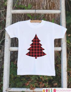 960454b0ef Kids Christmas Shirts - Plaid Christmas Tree Shirt - Boy or Girl Christmas  Onepiece or Shirt - Kids Christmas Pajamas - Family Shirts