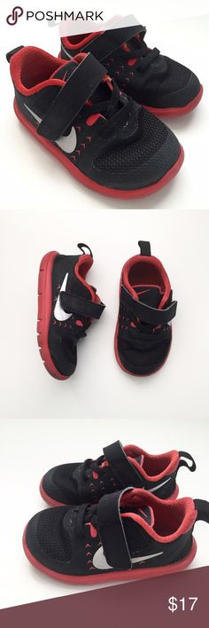 "SOLD @dasrozo // Kids Nike FS Lite Shoes Size 5C, measures 5.5"". Nike FS Lite Run Shoes. Red and Black color with Velcro closure. Great used condition with some wear. // No trades. Ships daily Mon to Fri. Let me know if you'd like to Bundle with my women's items at my closet @dasrozo! Xo, Instagram @dasrozo for mini fashion + fam adventures Nike Shoes Sneakers"