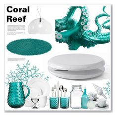 """""""Coral Reef"""" by mariarty ❤ liked on Polyvore featuring interior, interiors, interior design, home, home decor, interior decorating, H&M, Bormioli Rocco, Whiteley and Pols Potten"""