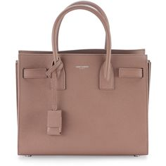 Saint Laurent Sac de Jour Baby Grain Leather Satchel Bag ($2,840) ❤ liked on Polyvore featuring blush