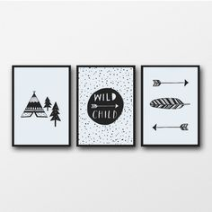 Monochrome Nursery Baby Wall Art Print Black and White Adventure Nursery Decor Wild Child Boho Arrows Nursery  Baby Gift Teepee Feather Art by violetandalfie on Etsy