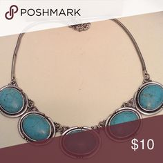 Turquoise stone necklace burnished silver NWT Navaho burnished silver and turquoise statement necklace. Brand new never used. Jewelry Necklaces