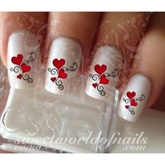 Valentine's Day Nail Art Red Hearts and Swirls Nail Water Decals Wraps 20 mix water decals on a clear water transfer which can be applied over any color varnish on either your natural or false nail. Valentine Nail Art, Holiday Nail Art, Christmas Nail Art, Valentines Hearts, Valentine Nail Designs, Disney Valentines, Fancy Nails, Red Nails, Cute Nails