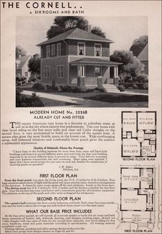 Sears Cornell house kit.  1925-1938. Six or seven rooms and one bath. Front porch with hipped roof supported by brick and wood piers; glazed front door. Two floor plans; cased opening between living and dining rooms. $1360 to $1785