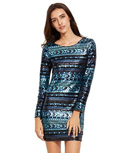 Amazon.com  ROMWE Women s Long Sleeve Sequined Bodycon Mini Dress  Clothing 86b90660d