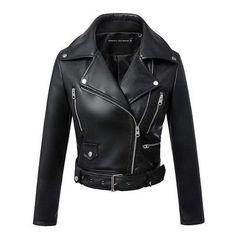 Denzell Outwear Black Biker Jacket, Womens Black Leather Jacket, Biker Leather, Faux Leather Jackets, Pu Jacket, Motorcycle Leather, Leather Coats, Vegan Leather, Jacket Men
